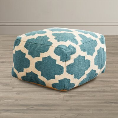 Zahara Lavish Lattice Pouf Ottoman Upholstery: Light Aqua / Green