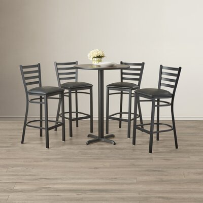 Rylee 5 Piece Pub Table Set Color: Walnut