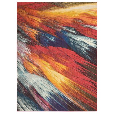 Abertamy Red Area Rug Rug Size: Rectangle 7'10