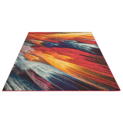 Abertamy Red Area Rug Rug Size: Rectangle 5'3