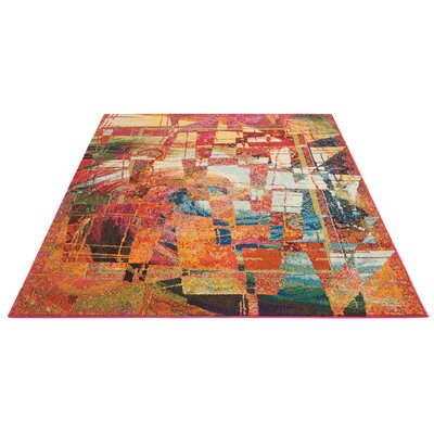 Abertamy Stained Glass Red Area Rug Rug Size: Rectangle 53 x 73