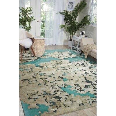 Annan Handmade Aqua/Tan Area Rug Rug Size: 39 x 59