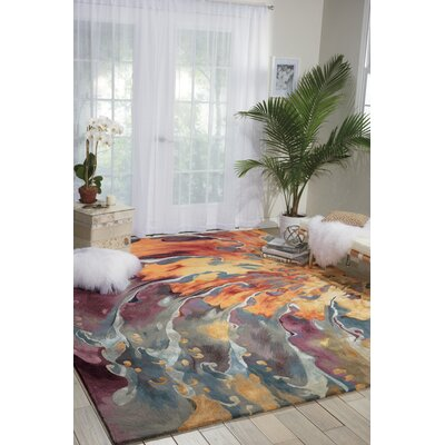 Annan Handmade Blue/Orange Area Rug Rug Size: 79 x 99
