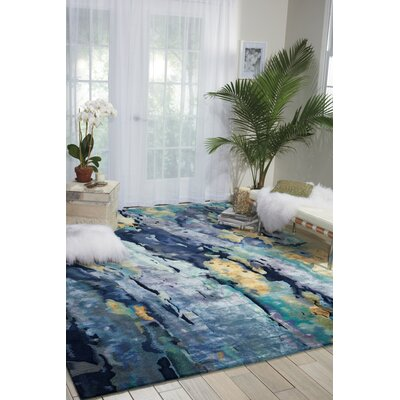 Annan Hand-Tufted Silver/Blue Area Rug Rug Size: 99 x 139