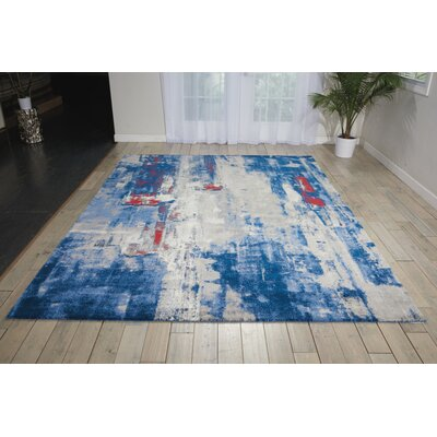 Antigua Blue/Red Area Rug Rug Size: Round 8