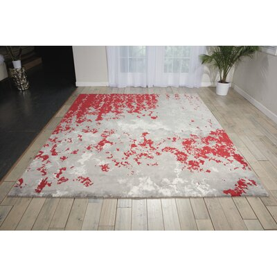 Antigua Gray/Red Area Rug Rug Size: 86 x 116