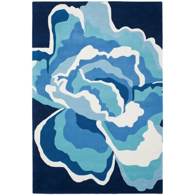 Burtundy Hand-Tufted Mediterranean / Blue Area Rug Rug Size: Rectangle 4 x 6