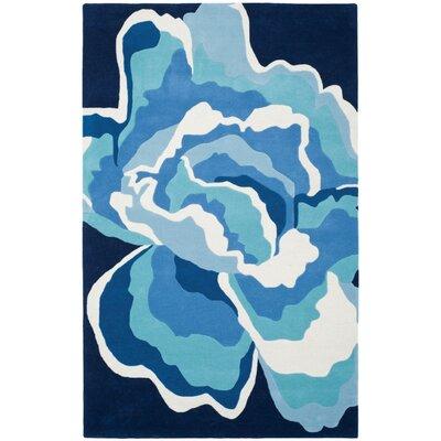 Burtundy Hand-Tufted Mediterranean / Blue Area Rug Rug Size: Rectangle 5 x 8