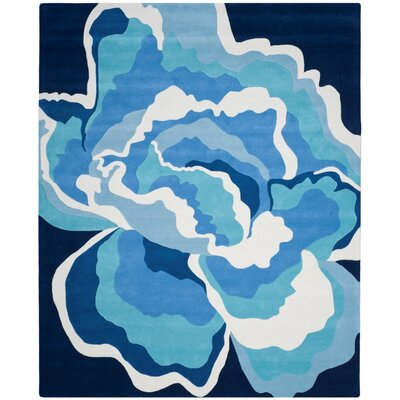 Burtundy Hand-Tufted Mediterranean / Blue Area Rug Rug Size: Rectangle 8 x 10