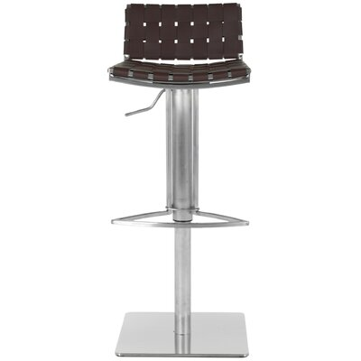 Appin Adjustable Height Swivel Bar Stool Upholstery: Brown