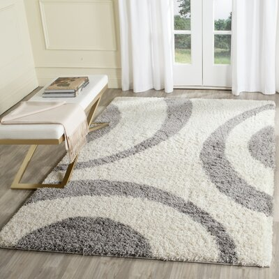 Barbara Shag Ivory/Gray Area Rug Rug Size: Rectangle 4 x 6
