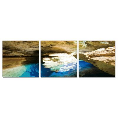 Blue Grotto 3 Piece Photographic Print on Canvas Set