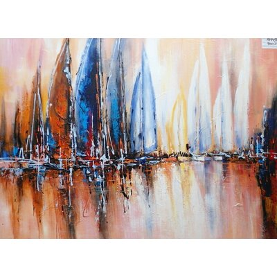 Abstract Sailboats Painting on Canvas LTRN4923 30596636