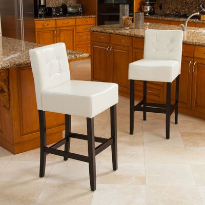 30 Bar Stool with Cushion Upholstery: Ivory