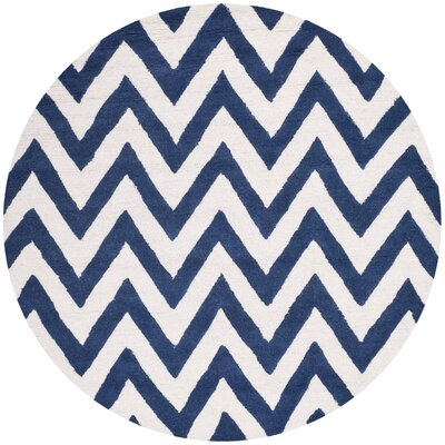 Hand-Tufted Navy/Ivory Area Rug Rug Size: Round 6