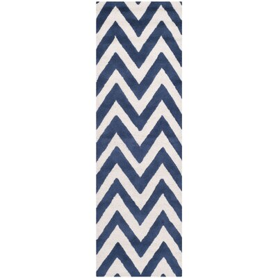 Hand-Tufted Navy/Ivory Area Rug Rug Size: Runner 26 x 8
