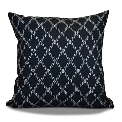 Decorative Holiday Geometric Print Outdoor Throw Pillow Size: 18 H x 18 W, Color: Navy Blue