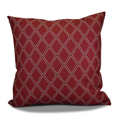 Decorative Holiday Geometric Print Outdoor Throw Pillow Size: 16 H x 16 W, Color: Cranberry