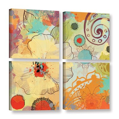 Exotic Flowers 4 Piece Painting Print on Wrapped Canvas Set