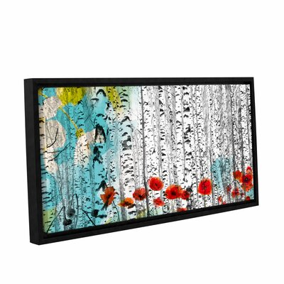 Birches and Poppies Framed Painting Print on Wrapped Canvas
