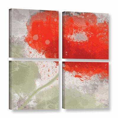 Deep Red 2 4 Piece Painting Print on Wrapped Canvas Set