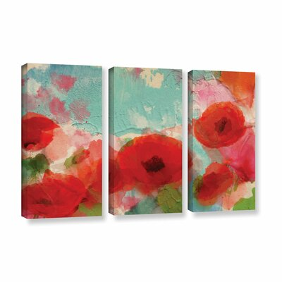 Fresh Air Poppies 3 Piece Painting Print on Wrapped Canvas Set