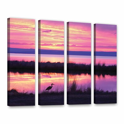 Sunset Crane 4 Piece Photographic Print on Wrapped Canvas Set