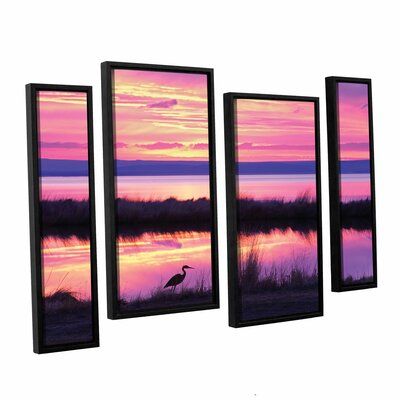 Sunset Crane 4 Piece Framed Photographic Print on Wrapped Canvas Set Size: 24