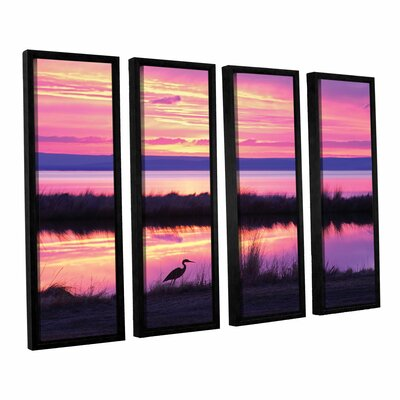 Sunset Crane 4 Piece Framed Photographic Print on Wrapped Canvas Set
