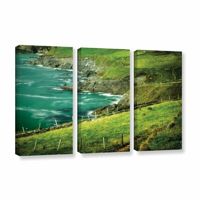 Sea 3 Piece Photographic Print on Gallery Wrapped Canvas Set in Green