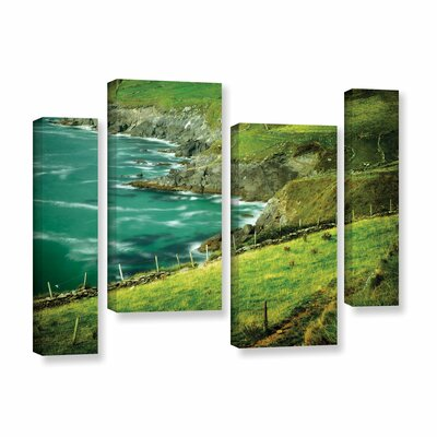 Sea 4 Piece Photographic Print on Wrapped Canvas Setin Green