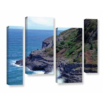 Sea Cave and Nesting Birdsn 4 Piece Photographic Print on Wrapped Canvas Set Size: 24