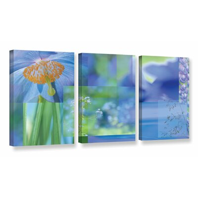 Blue Mood Collage 3 Piece Photographic Print on Wrapped Canvas Set Size: 18