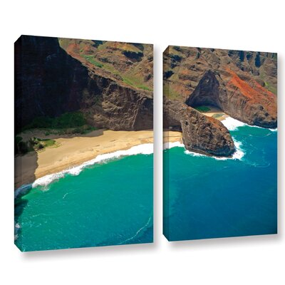 Turtle Head Sea Cave Napali Coast 2 Piece Photographic Print on Wrapped Canvas Set