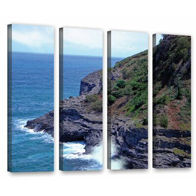 Sea Cave and Nesting Birds 4 Piece Photographic Print on Wrapped Canvas Set Size: 24