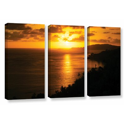 Pacific Sunrise Over Kilauea Lighthouse 3 Piece Photographic Print on Wrapped Canvas Set Size: 24
