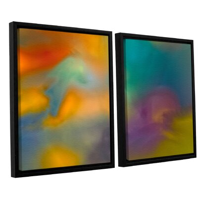 Fantasy in Colour 2 Piece Framed Painting Print on Canvas Set