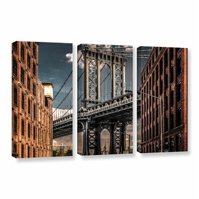 Empire Shadow Manhattan Bridge II 3 Piece Photographic Print on Wrapped Canvas Set