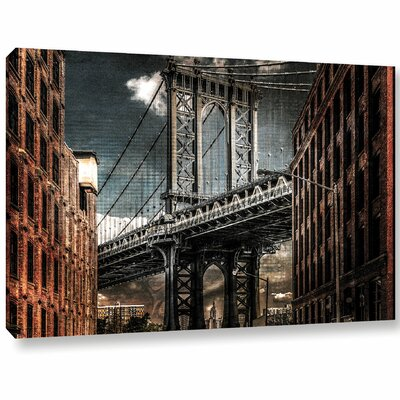 Empire Shadow Manhattan Bridge Photographic Print on Wrapped Canvas