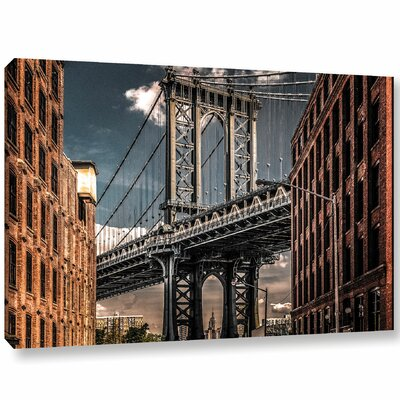 Empire Shadow Manhattan Bridge II Photographic Print on Wrapped Canvas