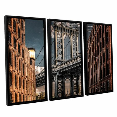 Empire Shadow Manhattan Bridge II 3 Piece Framed Photographic Print on Canvas Set