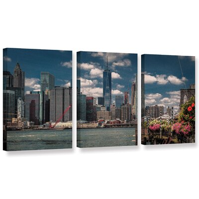 Flowers on The Pier 3 Piece Photographic Print on Wrapped Canvas Set Size: 18