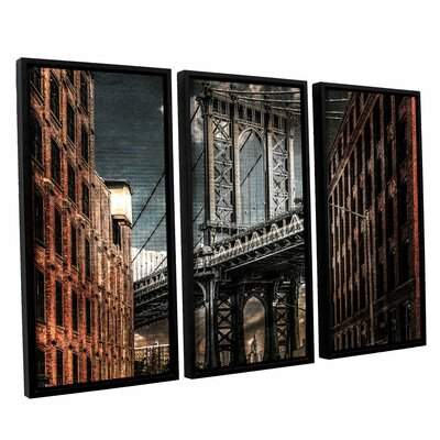 Empire Shadow Manhattan Bridge 3 Piece Framed Photographic Print on Canvas Set
