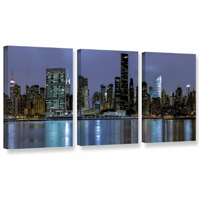 New York at Night II 3 Piece Photographic Print on Wrapped Canvas Set