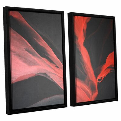 Breaking Red 2 Piece Framed Painting Print Set Size: 24