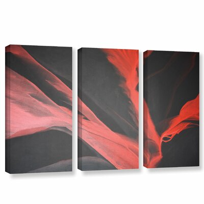 Breaking Red 3 Piece Painting Print on Wrapped Canvas Set Size: 24