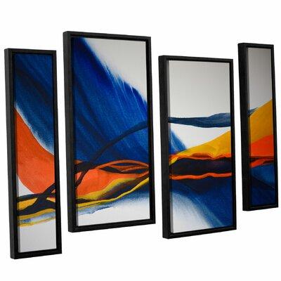 Blue Wave 4 Piece Framed Painting Print Set