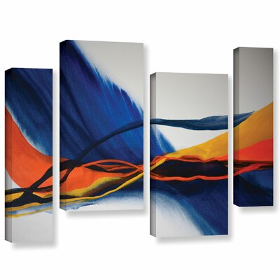 Blue Wave 4 Piece Painting Print on Wrapped Canvas Set