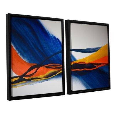 Blue Wave 2 Piece Framed Painting Print Set