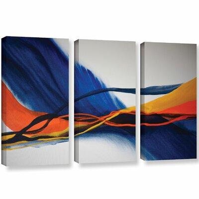 3-Piece Blue Wave Canvas Print Set